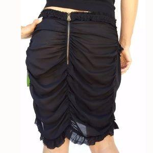 Daniele Alessandrini Black Drape Skirt Sz 6 /42